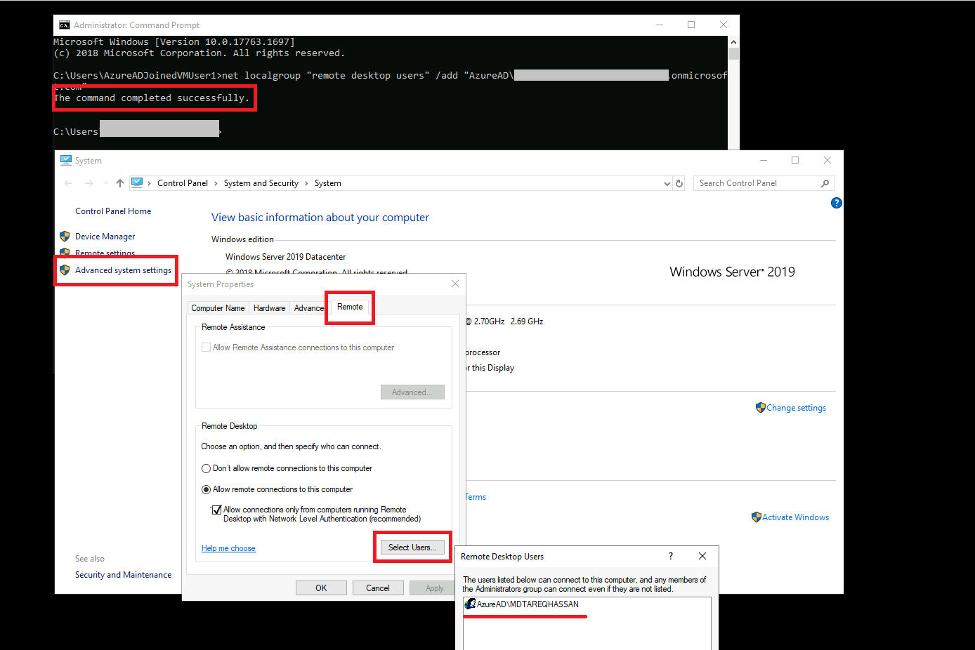 Checking Azure AD user is added to 'Remote Desktop User' Group
